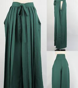 Japanese Woman's Kimono Hakama Umanori Pants Type L:100cm Green