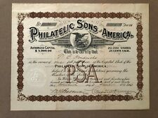 PHILATELIC SONS OF AMERICA ISSUED STOCK CERTIFICATE RARE SIGNED EARLY STAMP CLUB