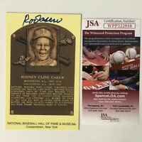 Autographed/Signed ROD CAREW HOF Hall Of Fame Baseball Plaque Postcard JSA COA