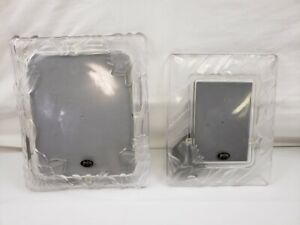 LOT of 2 Crystal Clear Studios Japan Glass 5x7 10x8 Picture Frame Floral Design
