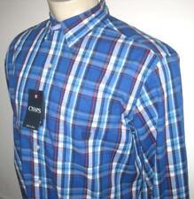 NEW XLT CHAPS MENS SHIRT Blue White Red Plaid Button Down Long Sleeve XL TALL