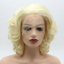Meiyite Hair Wavy Short 10inch Light Blonde Synthetic Lace Front Realistic Wigs