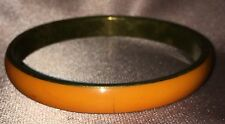 Estate Collectable ~ India Orange & Brass Slim Bangle ~ Vintage