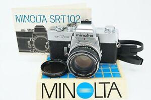 CLASSIC MINOLTA SRT-102 35MM SLR W/ROKKOR-PF 55MM f/1.7 LENS **TECH SERVICED**