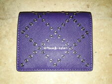 MICHAEL KORS Midi Women Wallet Purple with metal dots card case leather