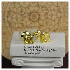 Silver Step Cut Asscher Cz Stud Earrings Gold 14K Canary Yellow 1.42Ctw Per Pair