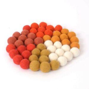 Glaciart One Wool Felt Balls (50 Pieces) 0.8 Inch (2cm), 6 Colors (Rust, Oran...