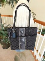 Coach Signature Stripe Black Jacquard Python Patent Leather Tote Shoulder Bag F2