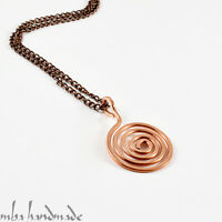 Pure Copper Wire Wrapped Unisex Spiral Pendant Artisan Handcrafted Necklace