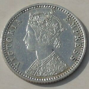 1894-B British India Queen Victoria 1/4 Rupee, incuse B, KM# 490, cleaned VF