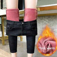 Women High Waist Stretchy Thermal Jeans Trousers Skinny Pants Winter Comfortable