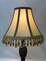 Vtg Victorian Art Deco Lamp Shade Beige Neutrals Tassel Fringe 16x12 Traditional