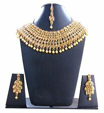 Polki kundan pearl Indian bridal Necklace earrings Set bollywood wedding jewelry