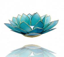 Teelichthalter Lotus Atmospherisches Licht mit Goldrand Farbe Hellblau ca.13,5cm