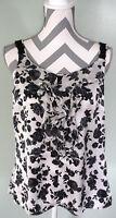 WHITE HOUSE BLACK MARKET Black White Floral Sleeveless Ruffle Blouse Top Sz M