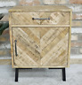 Bedside Storage Cabinet 1 Door 1 Drawer Cupboard Lamp Side Table Mango Wood Unit