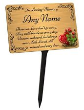 Personalised Memorial Plaque & Stake. Brushed Gold Waterproof garden grave
