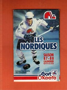 1987 - 1988  NHL NORDIQUES QUEBEC CLUB SCHEDULE / CÉDULE  MINT