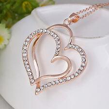 18K Vergoldet Delicate Crystal Doppel Herz Anhänger Halskette Kette Strass Neu