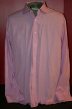 Ralph Lauren Made in Italy Men's (17.5) Cotton Pink/White Stripe L/S Dress Shirt