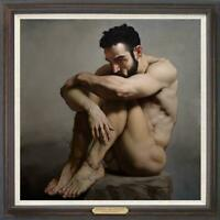 "Original Oil Painting female art  male nude on canvas 30""x30"""