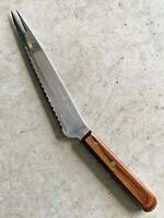 "Vintage Ekco Viscount Offset Tomato Knife Stainless Steel 7"" Blade Wood USA EC"