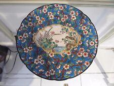 Assiette émaux Longwy cartouche et fleurs pommier 188 (longwy enamelled plate)