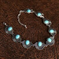 Women Statement Bib Chunky Turquoise Chain Charm Collar Choker Necklace Jewelry