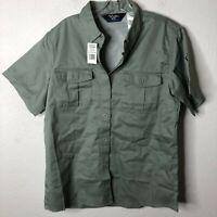 Walls Men's Short Sleeve 2 Front Pocket Work Shirt, Sage Green, Large Regular