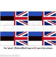 ESTONIA-UK Flag Estonian-United Kingdom British Union Jack 50mm Sticker Decal x4