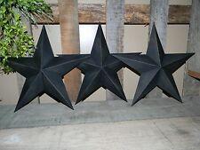 "Set of 3 12"" BLACK TEXTURED BARN STARS Metal Tin  Primitive Country"