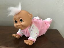 Vintage Russ Troll Crawling Baby Giggles Doll ~ DAM Face ~ As-is