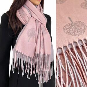 Ladies Pink Wool Scarf Tree of Life Pashmina Shawl Wrap Winter Long Large Warm