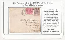 Australia Victoria to UK 1891