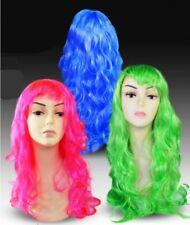 CARNEVALE HALLOWEEN PARRUCCA VERDE CAPELLI LUNGHI BOCCOLI WIG LONG GREEN HAIR