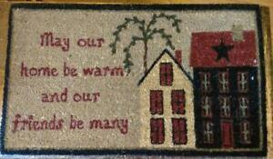 Saltbox Houses Black/Red White Doormat 29X17 Coir / Vinyl Natural Fibers