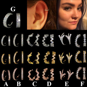 Multi CZ Hoop Nose Ring Daith Snug Piercing Tragus Helix Ear Cartilage Earring