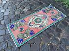 Vintage doormats, Turkish small rug, Hand-knotted wool rug | 1,4 x 3,3 ft