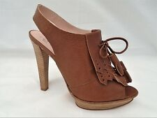 PACO GIL LADIES BROWN GRAINED LEATHER CASUAL HEELS SANDALS WOMANS UK 5 - EUR 38
