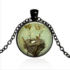 Bird's Nest Black Glass Cabochon Necklace chain Pendant Wholesale