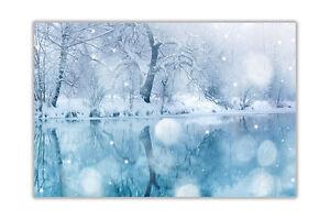 Blue Winter Lake Landscape Poster Prints Wall Art Decoration Pictures