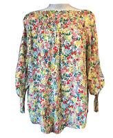 Fab Bohemian UK 10 Floral Tunic Shirt Boho Bardot Top Botanical Festival Hippie