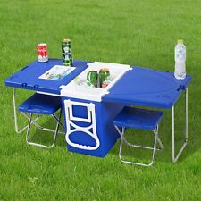 Outdoor Multi Function Rolling Cooler With Table And 2 Chairs Picnic Camping