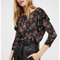 Free People NWT Women's Dock Street Black Red Romantic Floral Ruffle Blouse Top
