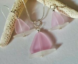 Sailboat Sea glass Jewelry Set, Soft Pink, Frosted Clear Necklace & Earrings Set