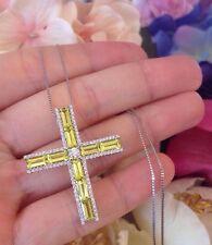 18ct Oro Blanco Diamante Y CITRINE Limón Colgante de cruz .65ct - hm1419