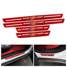 4PCS MUGEN Red Carbon Fiber Car Front Door Welcome Plate Sill Scuff Cover