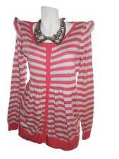 H&M Womens Striped Ruffle Sleeve Casual Knit Cotton Maternity Cardigan sz M X92