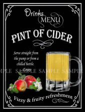 PINT OF CIDER  RETRO DESIGNED METAL SIGN: HOME BAR: PUB: MANCAVE: HOME DECOR