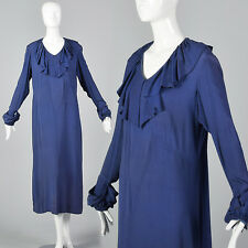 L 1930s Blue Day Dress Art Deco Ruffle Neckline Long Sleeves Bias Cut 30s Vtg
